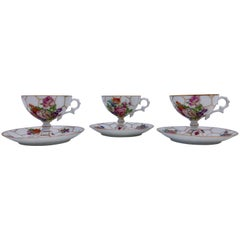 Limoges Bone China Tea Cups with Legs and Saucers, Set of Three, Early 1900s