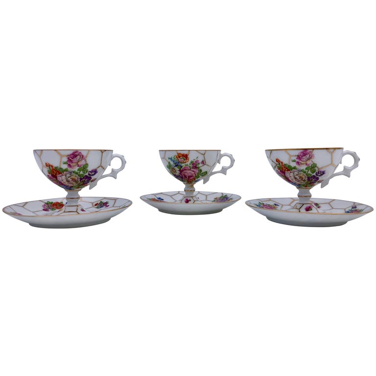 Limoges Bone China Tea Cups with Legs and Saucers, Set of Three, Early 1900s For Sale