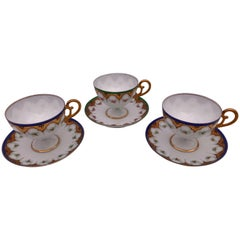Set of Three Bone China Tea Cups with Pedestal Bottom, Saucers Early 1900s