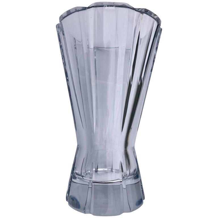 "Christofle Cut Crystal Tall Vase Model ""Djambe"""