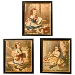 Set of Three Framed French Colored Lithographs of Three Young Girls, Early 1900s