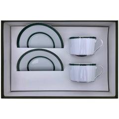 "Christofle Porcelain Tea Set for Two, ""Tête-à-Tête"", Model Talisman, Green"