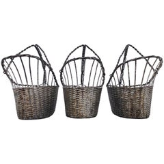French Woven Metal Basket Bottle Holders Used in a Parisian Restaurant