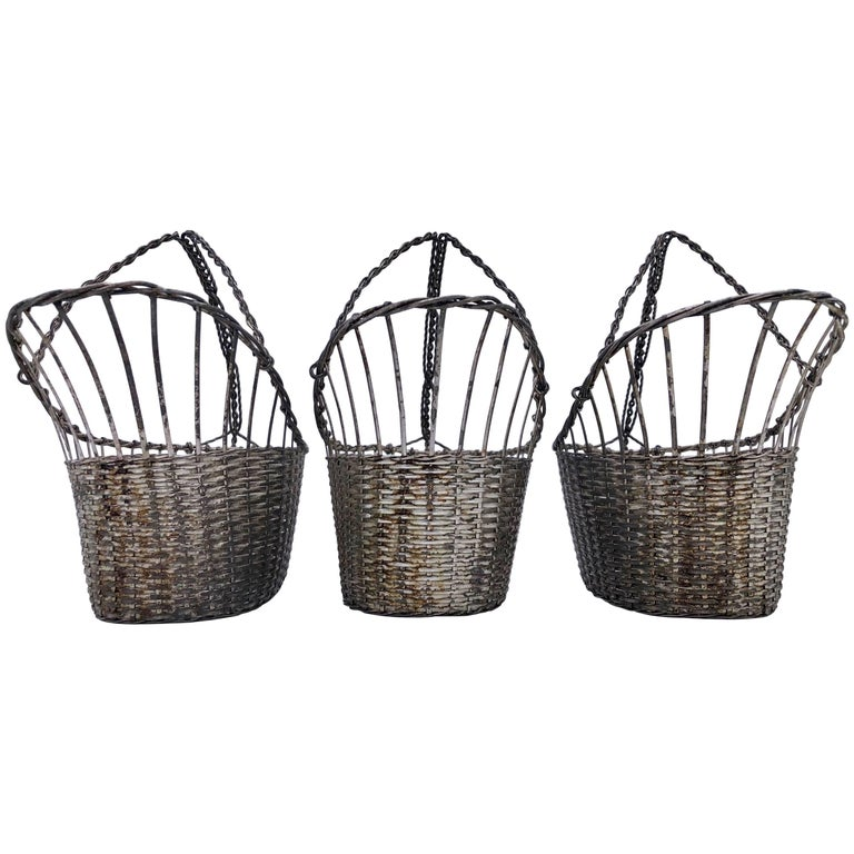 French Woven Metal Basket Bottle Holders Used in a Parisian Restaurant For Sale