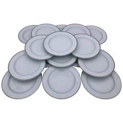 Christofle Porcelain Large Presentation Plates with Silver Banding, Set of 40