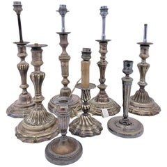 French Plated Silver Lamps, Set of Eight, Former Candlestick Holders