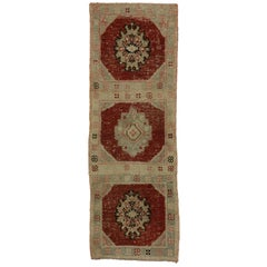 Distressed Vintage Turkish Oushak Runner, Entry or Foyer Rug with Rustic Style