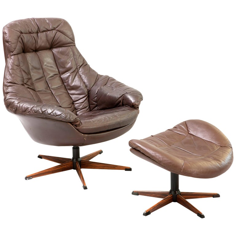 Lounge Chair and Stool in Brown Leather, Designer Henry Walter Klein, 1970