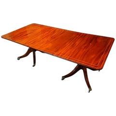 Regency Style Twin Pillar Mahogany Dining Table