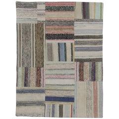 Vintage Turkish Pala Patchwork Kilim Rug, Flat-Weave Rug