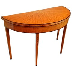 George III Satinwood Large Demilune Card-Table