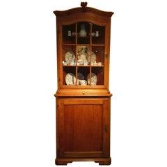 18th Century Rococo Solid Oakwood Two-Door Corner Glass Display Cabinet