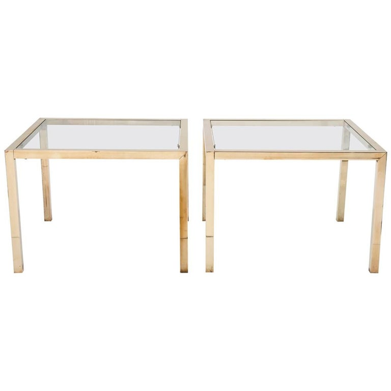 Pair of Brass Side Tables with Clear Glass Tops