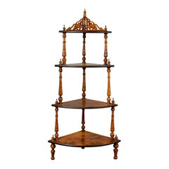 Antique Whatnot, English, Burr Walnut, Four-Tier Corner Display Stand circa 1880