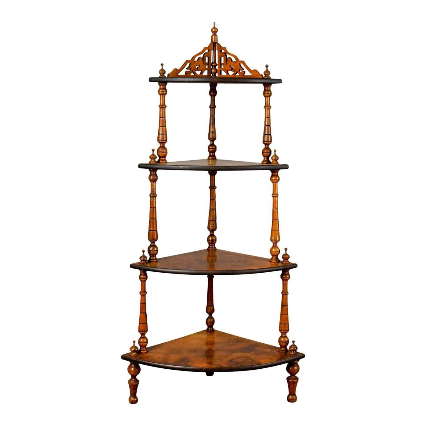Antique Whatnot, English, Burr Walnut, Four Tier Corner Display Stand Circa  1880