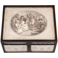 Sewing Box Antique Glazed Reverse Mirror Naively Decorated, 19th Century