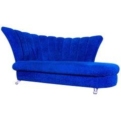Bretz Designer Sofa Fabric Blue Two-Seat Couch Chaise Longue