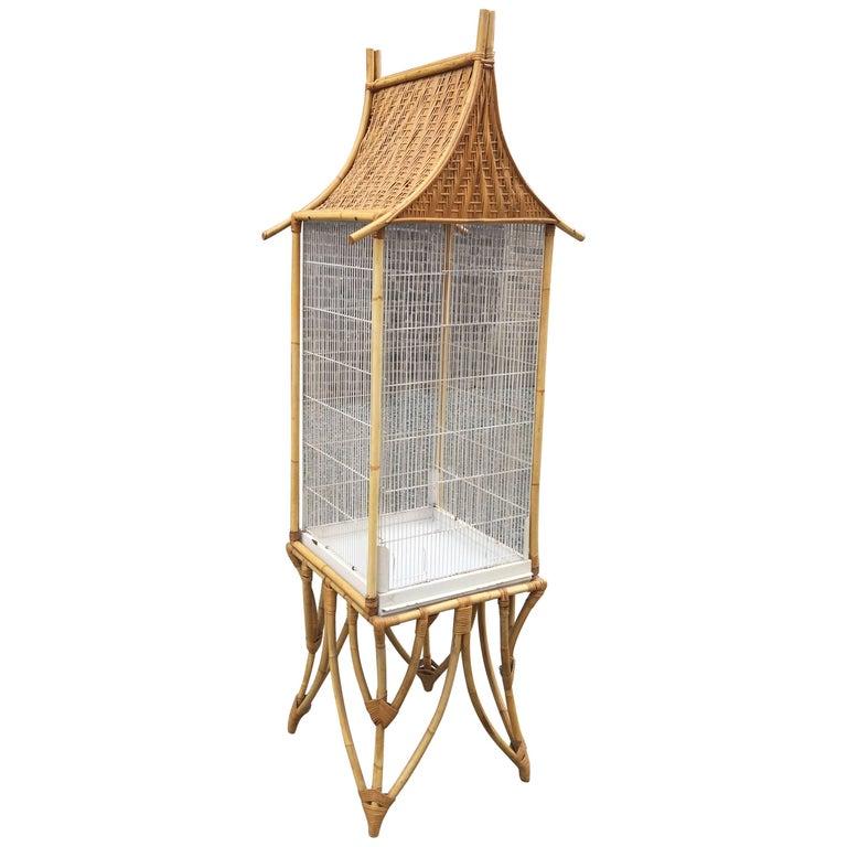 Large Bamboo and Rattan Bird Cage, circa 1970