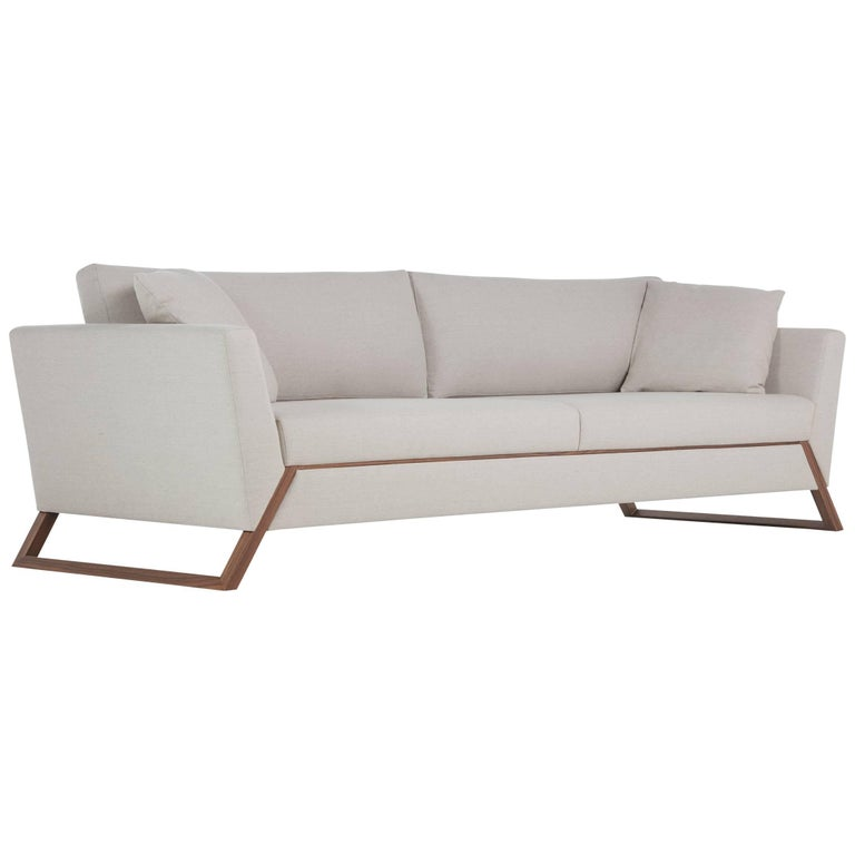 Mantiqueira Brazilian Contemporary Wood Upholstered Sofa by Lattoog