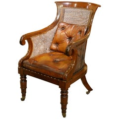 Regency Mahogany Bergère Library Chair