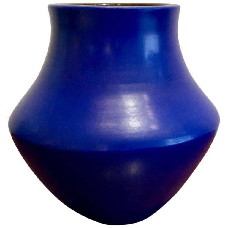 Ceramic Blue Vase by Suzanne Ramie, Atelier Madoura, Vallauris 1950's