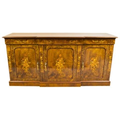 Superb Bespoke Burr Walnut Marquetry Three-Door Sideboard