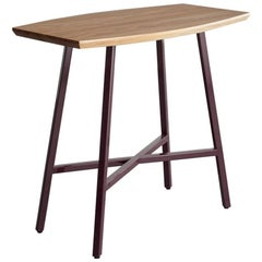 Boat End Table, Burgundy Powder Coated Steel, Ash Top