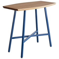 Boat End Table, Blue Powder Coated Steel, Ash Top