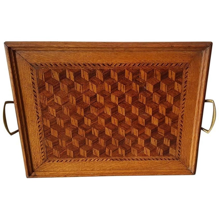 Late 19th Century French Marqueterie Parqueterie Serving Tray
