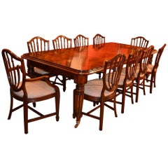 English Regency Dining Table and Ten Hepplewhite Chairs