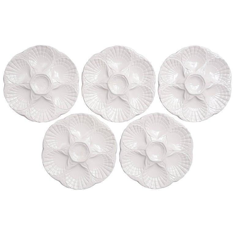 Five Vintage Sarreguemines Oyster Beds or Plates
