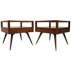 Pair of Mid-Century Modern American of Martinsville Walnut End Tables