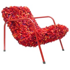 Emilia Brazilian Contemporary Metal and Recycled Colored Fabric Seat Easychair