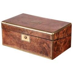 Quality Victorian Brass Bound Burr Walnut Writing Box