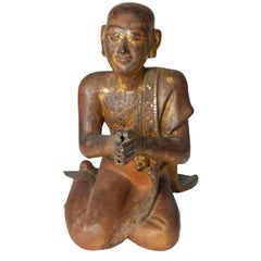 Thai 1900s Gilt and Polychrome Hand Carved Sculpture of Seated Buddhist Monk
