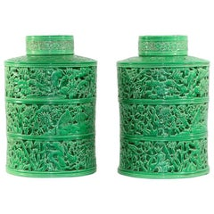 Pair of Early 19th Century Jade Green Pierced Porcelain Temple Storage Jars