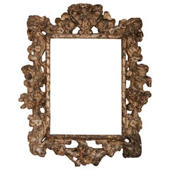 18th Century Gilt Wooden Frame, Carved Angels and Flowers