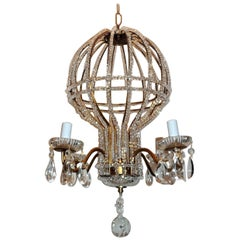 Wonderful Vintage Italy Gilt Beaded Crystal Hot Air Balloon Chandelier Fixture