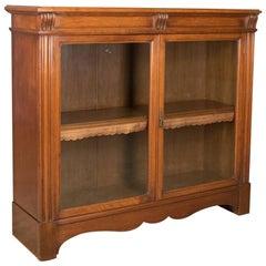 Antique Glazed Bookcase, Victorian, English, Display Cabinet, Walnut, circa 1880