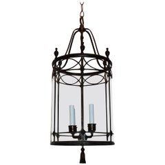 Bronze Panel Round Bent Glass Lantern Four-Light Caldwell Urn Fixture