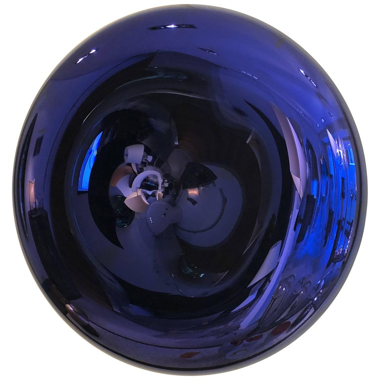 Convex and Concave Midnight Blue Mirror by Christophe Gaignon