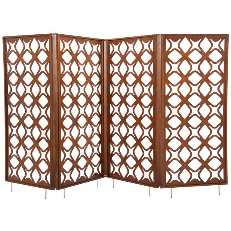 São Cristóvão Brazilian Contemporary Wood Laminate Folding Screen by Lattoog For Sale