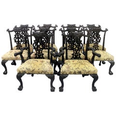 Fine Set of Ten Late 19th Century Chippendale Style Dining Chairs