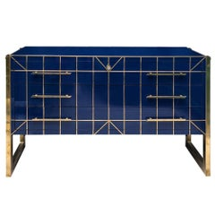 Blu Opaline Glass Chest of Drawers, Brass Fittings, 1970s