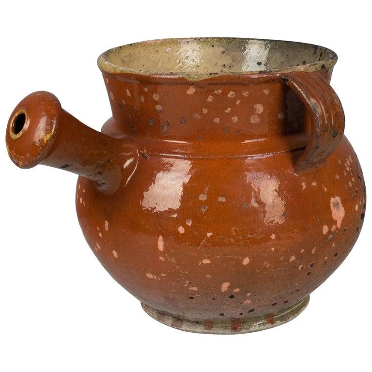 19th Century French Glazed Terracotta Pot