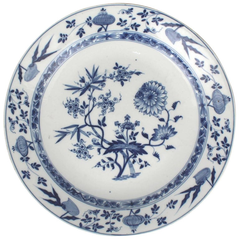 Large Antique Meissen Marcolini Period Blue Onion Pattern Porcelain Charger