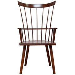 Walnut Stained American Modern Windsor Colt High-Back Armchair by O&G Studio