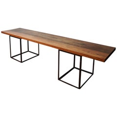 Solid Rosewood Bench with Open Frame Iron Cube Pedestals