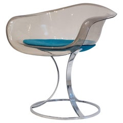 Peter Hoyte Acrylic and Chrome Chair