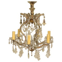 1930s Marie Therese Crystal Chandelier with Six Lights